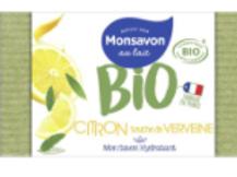 Monsavon bio savon pain de toilette hydratant citron pointe de basilic
