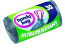 Handy bag sacs poubelle x15 poignées coulissantes ultra résistants 30 litres