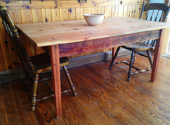 SOLD OUT-Wide Heart Pine Farmhouse Table -SOLD OUT