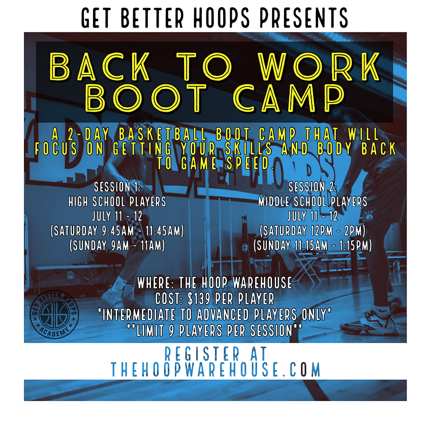 BACK TO WORK BOOT CAMP - MIDDLE SCHOOL - SESSION 2