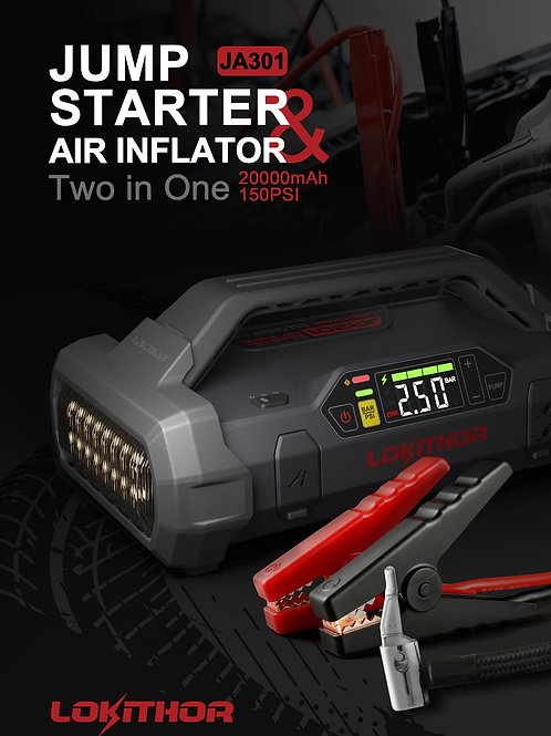 portable power jump starter and tire inflator