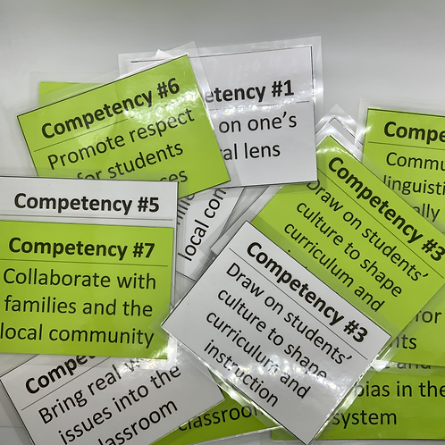 Competency - Laminated Teaching Cards