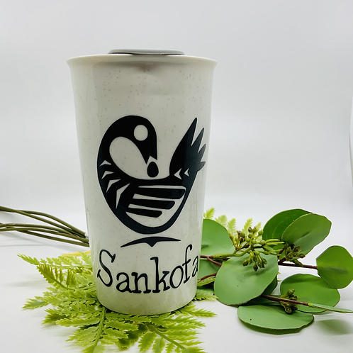 Sankofa Ceramic Travel Mug