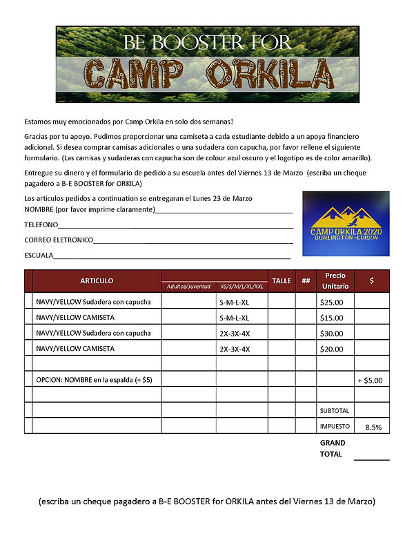 BE Booster for Orkila Apparel Order SPAN