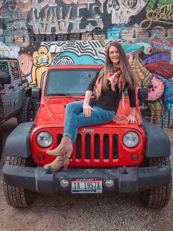 April on her Jeep