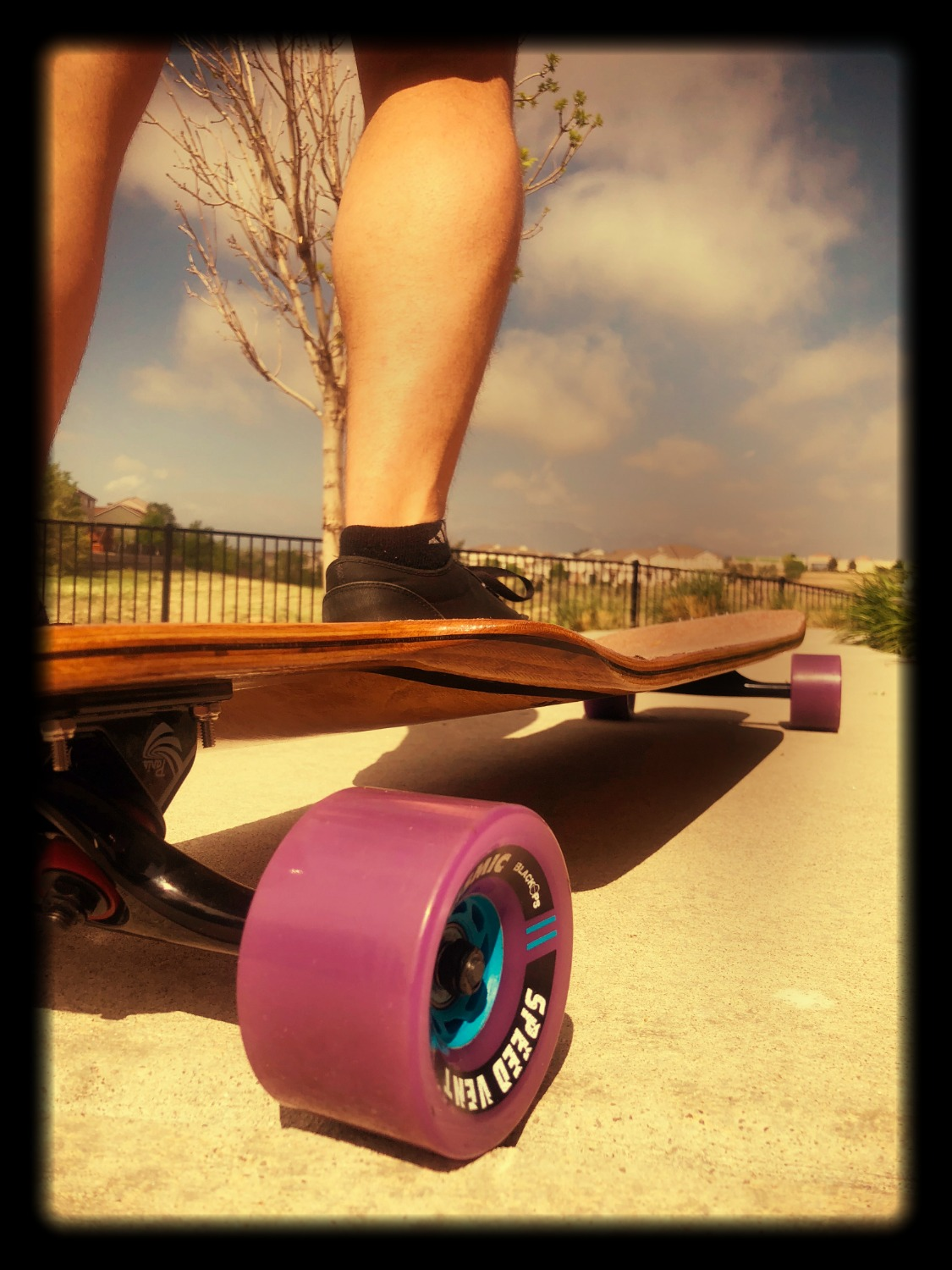 Longboard with Seismic wheels