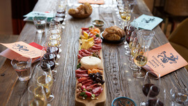 Our gorgeous wines and cheeseboard at Lyon Wine Tastings