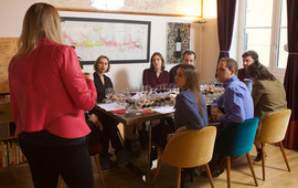 Look at everyone learning! I teach wine tasting technique, and all the different wines from Lyon's surrounding regions