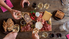 Lunch spread for wine tastings, cheers!