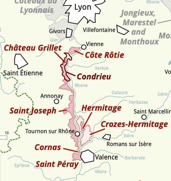 North rhone wine map region