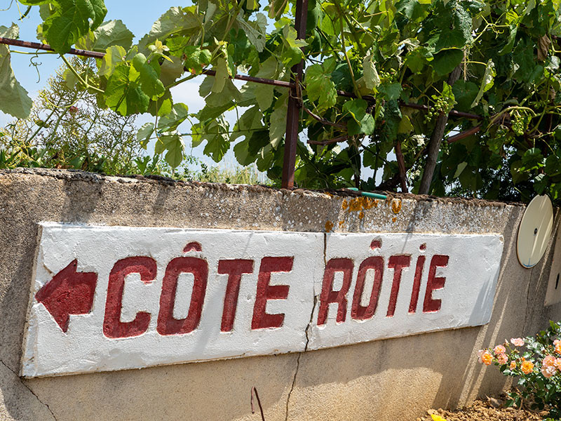 Côte-Rôtie sign on a wine tour