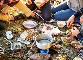 Petit-déjeuner au camping