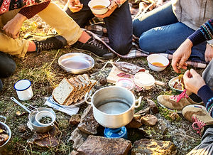 Camping and cooking supplies and food