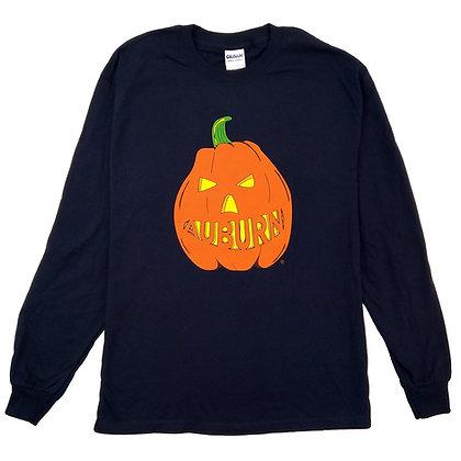 Navy Adult Long Sleeve T Shirt with Auburn Halloween Pumpkin Design