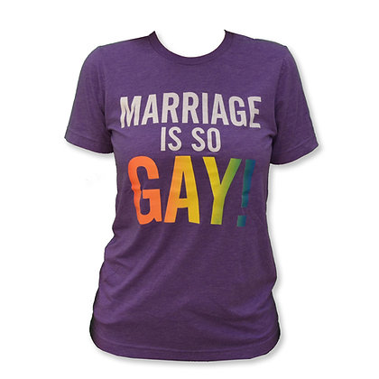Purple Soft T Shirt with Marriage is so Gay design in rainbow colors