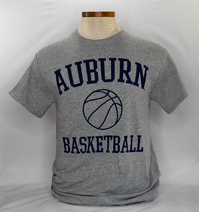 Athletic Gray T Shirt with Auburn Basketball in Navy lettering with a basketball outline in navy