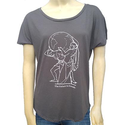 Dark Grey Woman's Wide Neck T Shirt with Suffragette Design