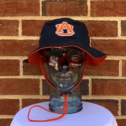 47 Brand Bucket Hat in Navy with orange underbrim and adjustable cord featuring interlocking AU in orange on front