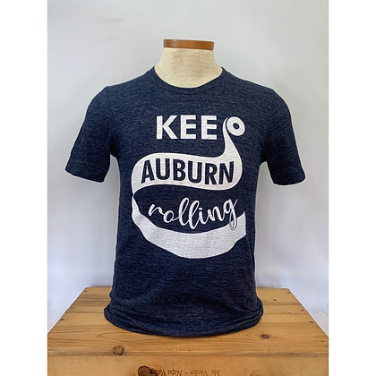Navy T Shirt with Keep Auburn Rolling Design in White