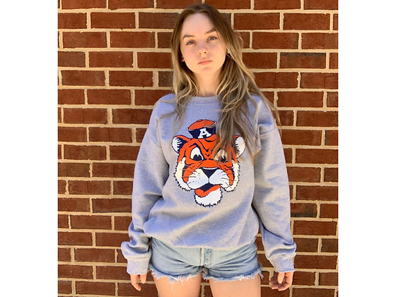 Athletic Gray Sweatshirt with Vintage Aubie the Tiger Head design