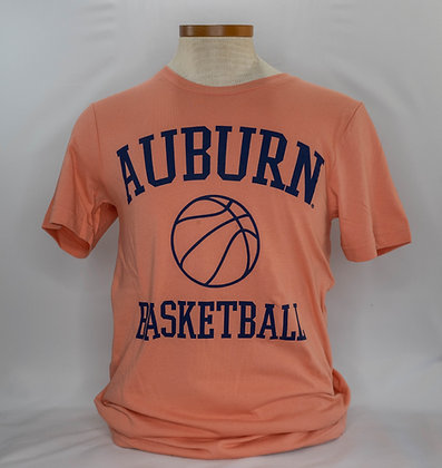 Salmon T Shirt with Auburn Basketball in Navy lettering with a basketball outline in navy