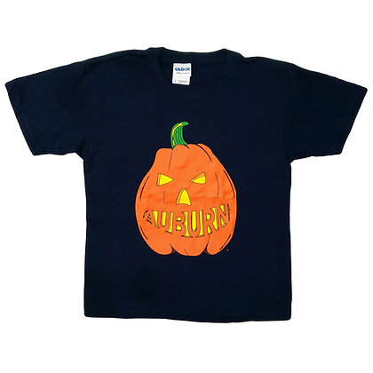 Navy youth t shirt with halloween pumpkin design featuring auburn carved into pumpkin