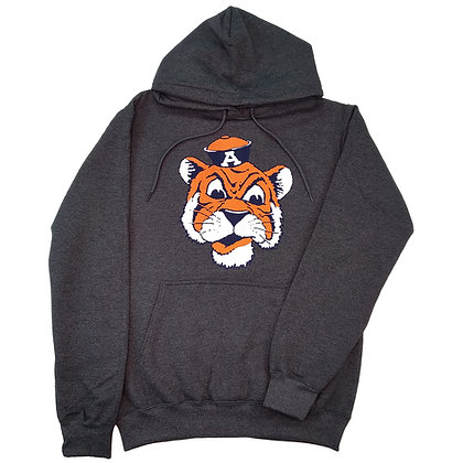 Heather Gray Pullover Hoodie Sweatshirt with Vintage Aubie the Tiger Head Design