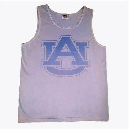 Blue Comfort Colors Tank Top with Auburn University's Classic Interlocking AU design in a darker tone on tone blue