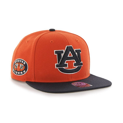 Orange Hat with Blue Brim and Navy AU White Outline Front, Auburn Tigers Eyes Logo Right Side