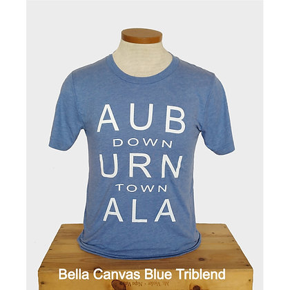 Light Blue Heather T Shirt with Downtown Auburn fragmented and stacked in white lettering