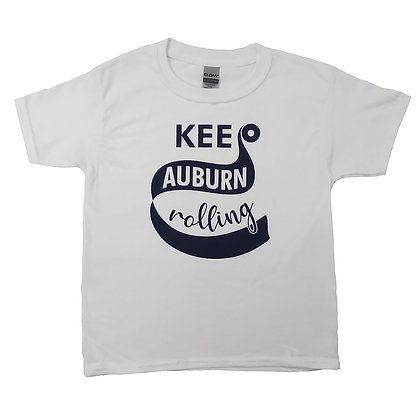 White Youth T Shirt with Keep Auburn Rolling design in Navy