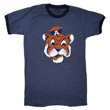 Heather Denim Ringer T Shirt with Vintage Aubie the Tiger Head Design