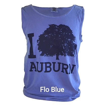 Comfort Colors Heavyweight Tank Top in Flo Blue with Navy I Tree Auburn Design with oak tree
