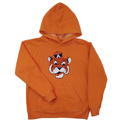Orange Youth Hoodie Sweatshirt with Vintage Aubie the Tiger Beanie Hat Design