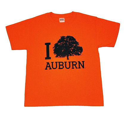 Orange Youth T Shirt with I Tree Auburn design in Navy with the Toomer's Oak