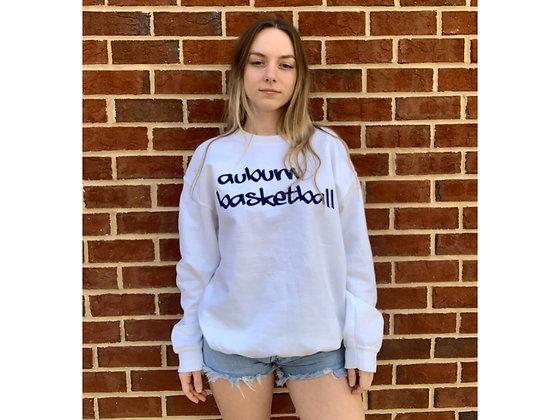 White Sweatshirt with Auburn Basketball in navy graffiti style lettering