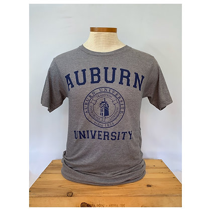 Gray T Shirt with Auburn University arch with seal featuring Samford Hall printed in navy