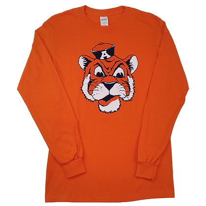 Orange Long Sleeve T Shirt with vintage Aubie the Tiger head design