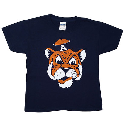 Navy Youth T Shirt with Vintage Aubie the Tiger Head with Sailor cap