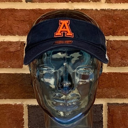"""47 Brand Navy Visor with Vintage """"A"""" Auburn Tigers design in orange front view"""
