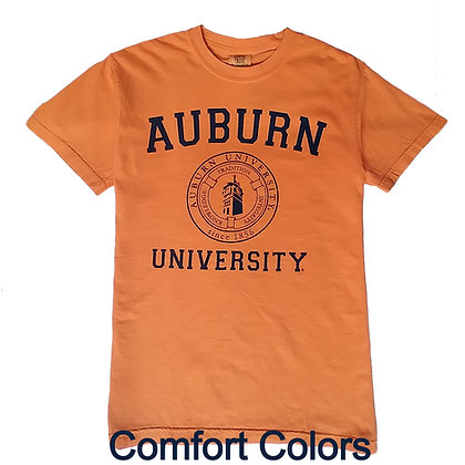 Orange T Shirt with Auburn University arch with seal featuring Samford Hall printed in navy