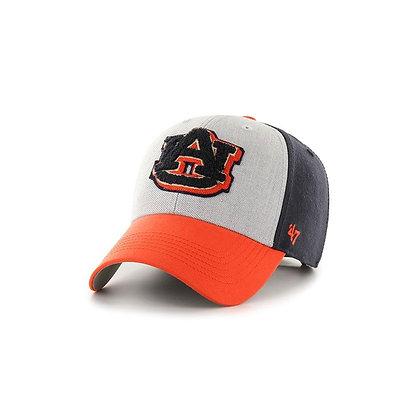 Auburn University 47 Brand 3 Tone Baseball Hat with felt AU logo on cream background with orange brim and navy backing