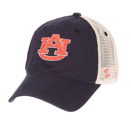 Washed Navy Baseball Cap with Orange Interlocking AU on front and white mesh backing