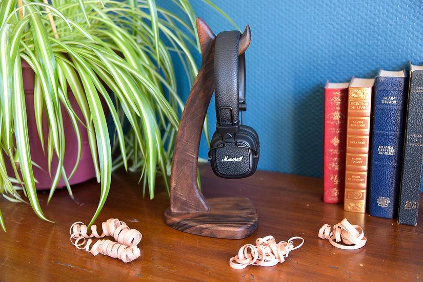 Support casque audio - Noyer