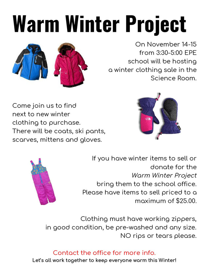 WARM WINTER PROJECT - REMINDER