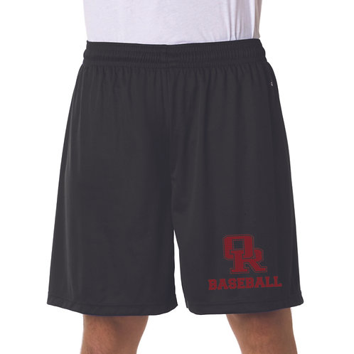 """Black or gray unisex 9""""performance shorts with OR Baseball print"""