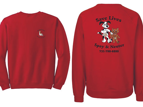 Red sweatshirt Henderson Co. Spay/Neuter Alliance