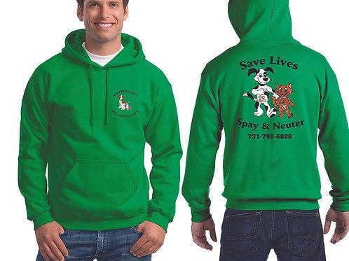 Green pullover hoodie Henderson Co. Spay/Neuter Alliance