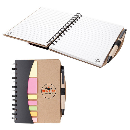 Notebook with Pen, Flags & Sticky Notes - Box of 100