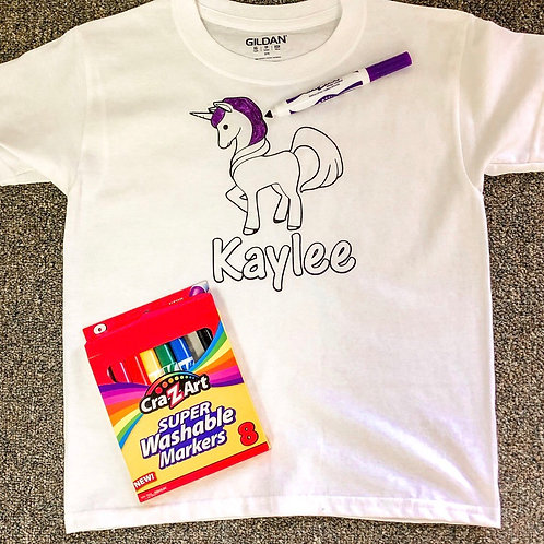 UNICORN Customized T-shirt for coloring kit (Shirt only)